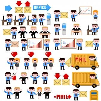 Pixelated illustration von bürosituationen