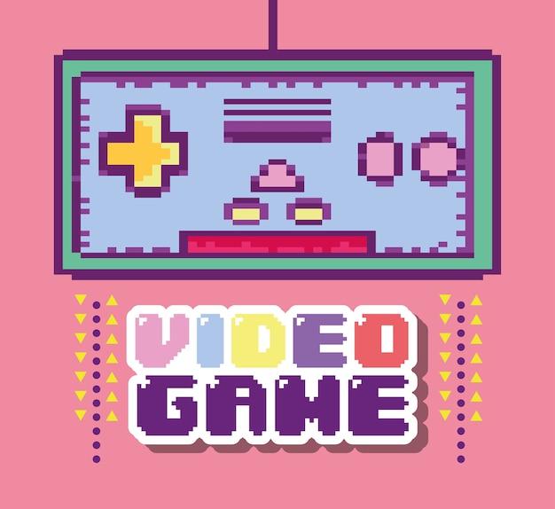 Pixelated retro gamepad cartoon