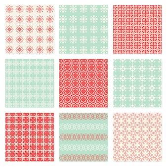 Pixelated-schneeflocken-vektor-nahtloser muster-satz