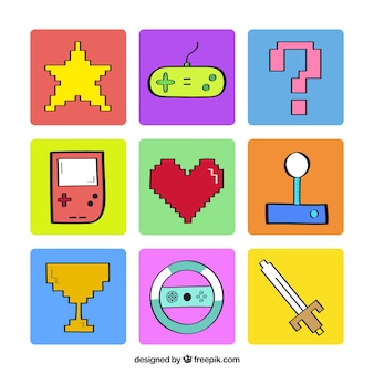 Pixelated videospiel-elemente