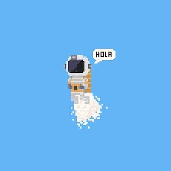 Pixelfliegenastronaut, der hola sagt