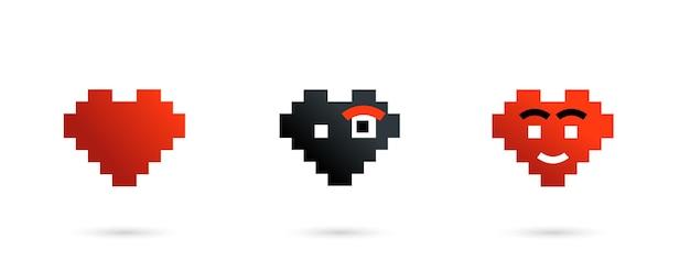 Pixelherzzeichensatz lokalisiert auf weißem hintergrund mit realistischem schatten