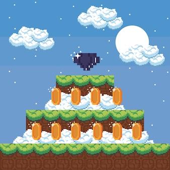 Pixelierte landschaftsvideospiellandschaft