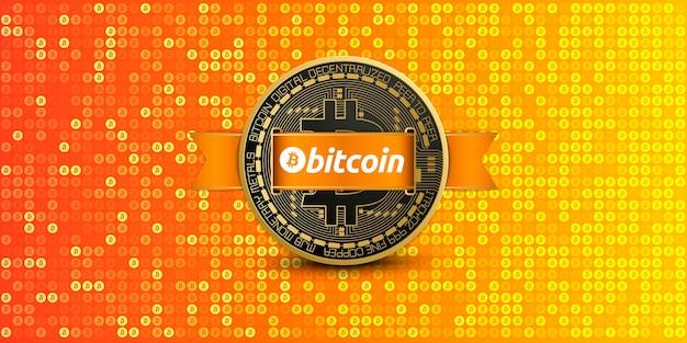 Pixelierter orangefarbener bitcoin-hintergrund