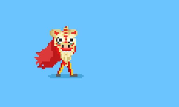 Pixeljunge mit chinesischem puppenkopf.