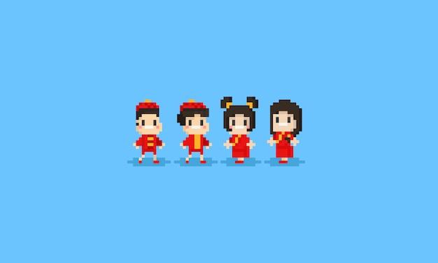 Pixelkinderzeichen im chinesischen kostüm
