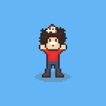Pixelkunst-afromann mit huhn auf dem kopf. 8 bit.