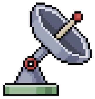 Pixelkunst-antennentelekommunikationssymbol für bit-spiel auf weißem hintergrund