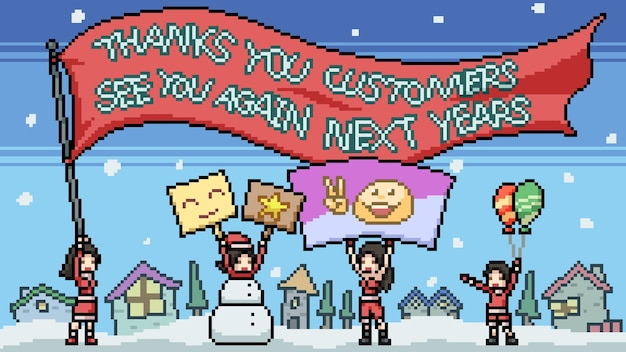 Pixelkunst danke kunden cartoon-szene