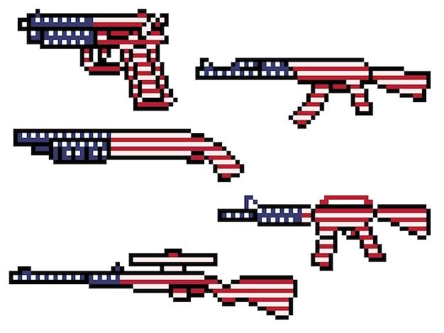 Pixelkunst der amerikanischen flaggenwaffe