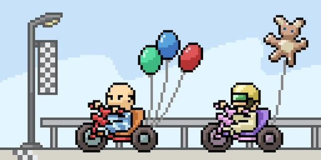 Pixelkunst der baby-rennillustration