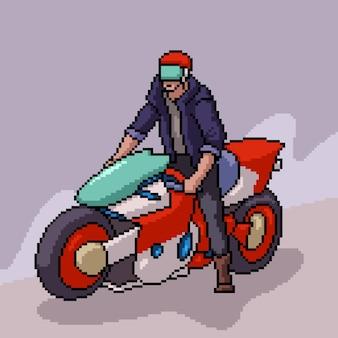 Pixelkunst der coolen biker-mannillustration