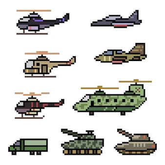 Pixelkunst der militärischen fahrzeugkraftillustration