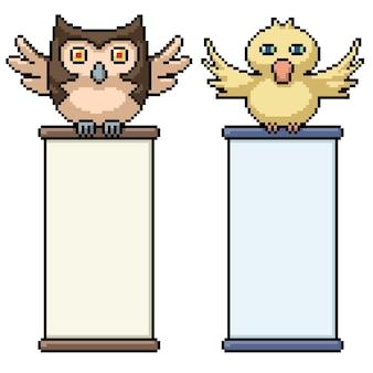 Pixelkunst der vögel, die schriftrollenillustration halten