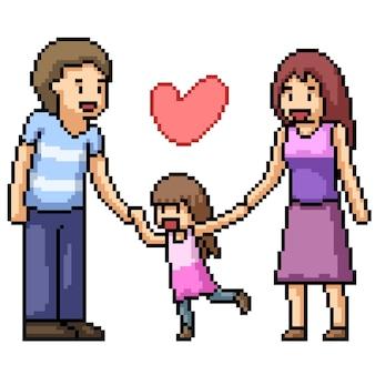 Pixelkunst der warmen glücklichen familie lokalisiert auf weiß