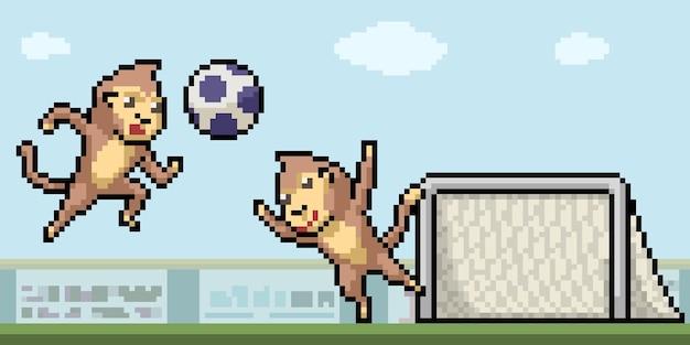 Pixelkunst des affen, der fußball spielt