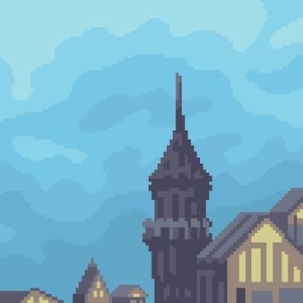 Pixelkunst des fantasieschlossdachs