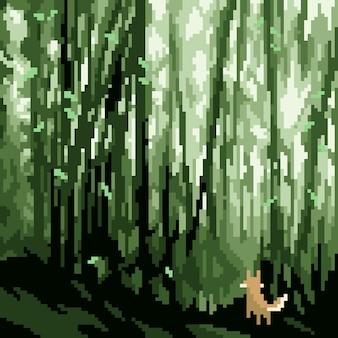 Pixelkunst des fuchses im dschungel