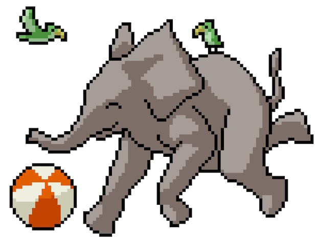 Pixelkunst des glücklichen elefantenspiels