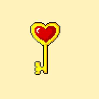 Pixelkunst des goldenen schlüssels mit roter liebesform