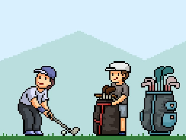 Pixelkunst des golfclubsports
