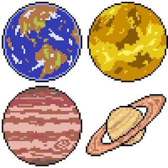 Pixelkunst des planeten gesetzt