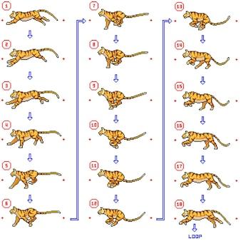 Pixelkunst des tigers, der eine animationsschleife läuft