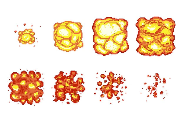 Pixelkunst-explosionsanimationsrahmen.