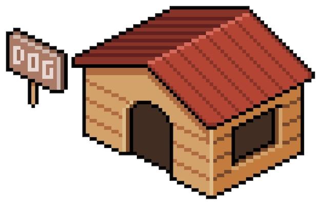 Pixelkunst-hundehausgebäude für bit-spiel auf weißem hintergrund