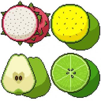 Pixelkunst isolierte früchte schneiden gruppe