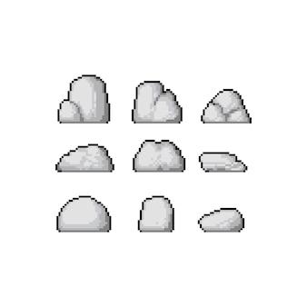 Pixelkunst-karikaturfelsensatz.