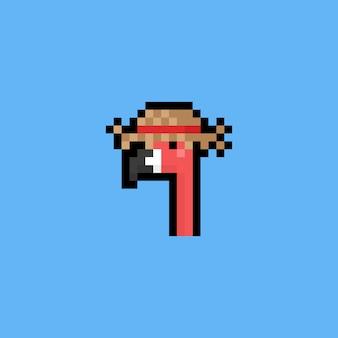 Pixelkunst-karikaturflamingokopf mit hatsummer.