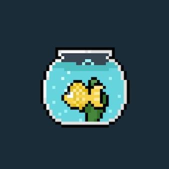 Pixelkunst-karikaturgoldfisch in einem glas