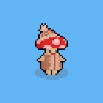 Pixelkunst-karikaturpilz charater mit strickjacke.