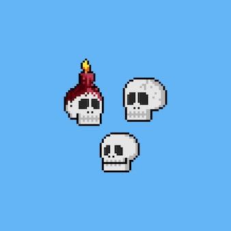 Pixelkunst-karikaturschädelkopf-ikonensatz. halloween. 8 bit.