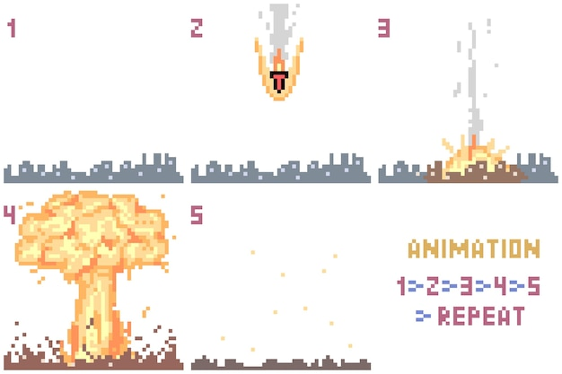 Pixelkunst nukleares animationsset