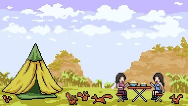 Pixelkunst-picknick im freien