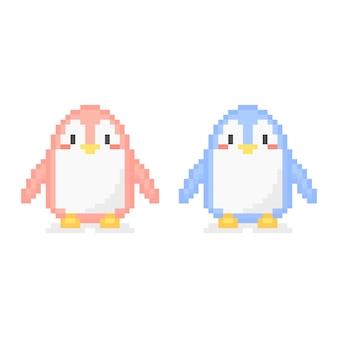Pixelkunst von pinguinpaaren