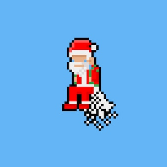Pixelkunstkarikatur, die weihnachtsmann mit jetpack fliegt