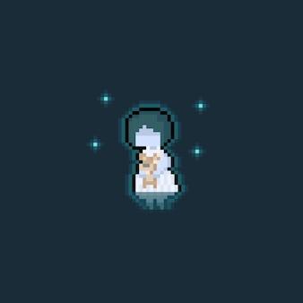 Pixelkunstkarikatur-geistermädchen, das eine bärnpuppe hält.