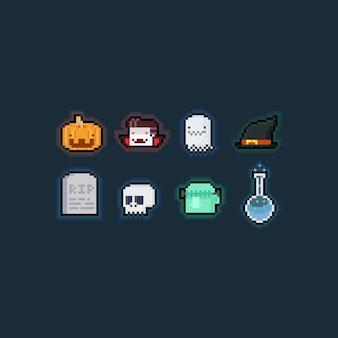 Pixelkunstkarikatur-halloween-elementsatz.