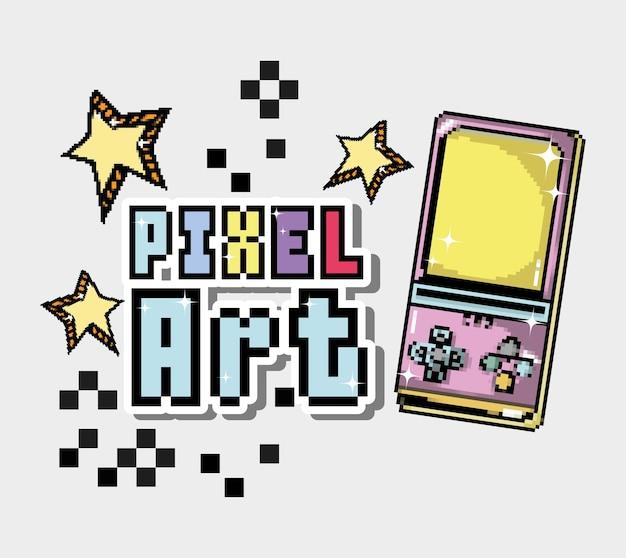 Pixelkunstkarikatur mit tetris und sternen