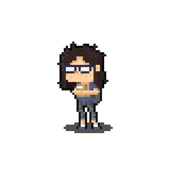 Pixelkunstkarikatur-nerd-mädchen, das viel buchcharakterentwurf hält.