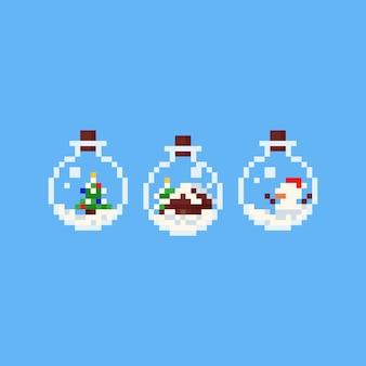 Pixelkunstkarikatur-weihnachtselement in der flasche.