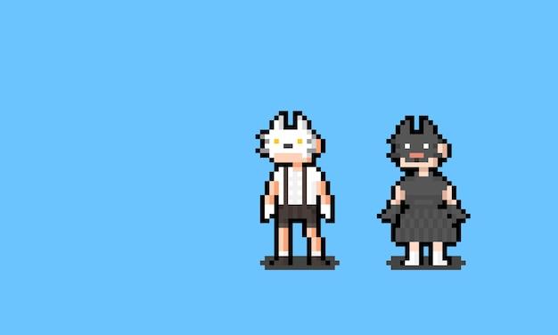 Pixelkunstkarikaturjungen- und -mädchencharakter, der die katzenmaske trägt.