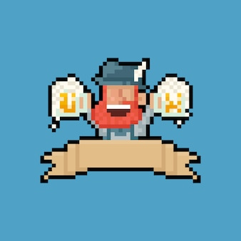 Pixelkunstkarikaturporträt-bartmann, der doppelten bierkrug mit band hält.