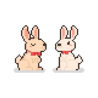 Pixelkunstkarikatursatz des niedlichen kaninchencharakters mit roten bindungen.