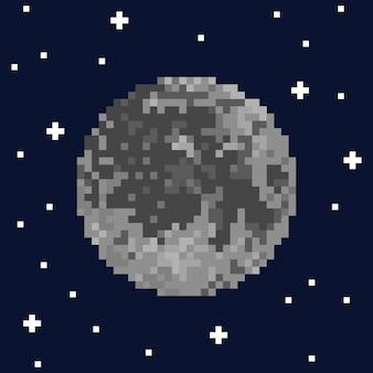 Pixelkunstmond und -sterne. vektor-illustration