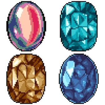 Pixelkunstsatz isolierte bunten edelstein