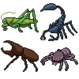 Pixelkunstsatz isoliertes kleines insekt